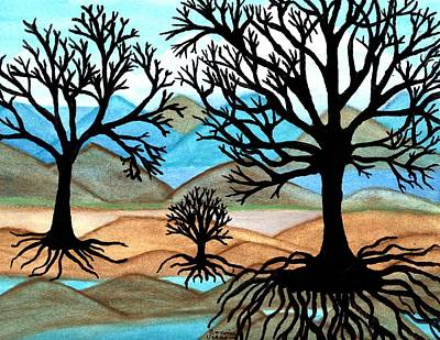 Tree Roots Painting - A Good Foundation by Connie Valasco