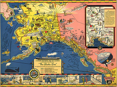 Old Map Painting - A Good Natured Map Of Alaska Line by Celestial Images