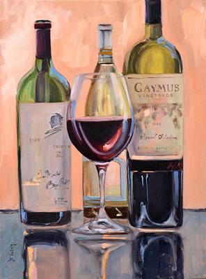 Wine Reflection Art Painting - A Good Pair - Caymus And Opus by Donna Tuten