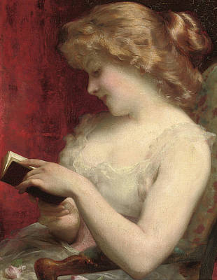 Library Painting - A Good Read by Etienne Adolphe Piot