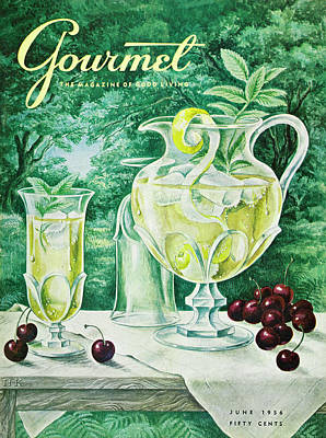 A Gourmet Cover Of Glassware Art Print by Hilary Knight