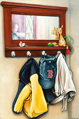 A Grandsons Prized Possessions Red Soxs Art Print by Leo Malboeuf