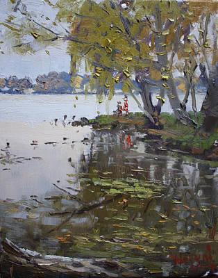 Rainy Painting - A Gray Rainy Day At Fishermans Park by Ylli Haruni