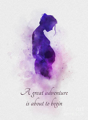 Pregnant Wall Art - Mixed Media - A Great Adventure Is About To Begin by Rebecca Jenkins
