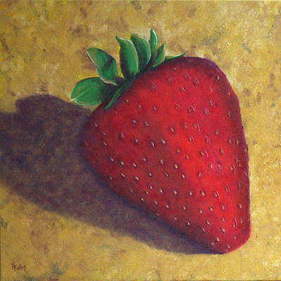Painting - A Great Big Strawberry by Helen Eaton