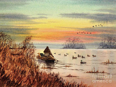 Painting - A Great Day For Duck Hunting by Bill Holkham