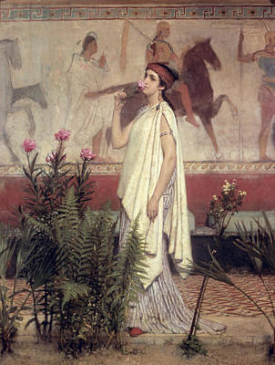 Horse Mural Painting - A Greek Woman by Sir Lawrence Alma-Tadema