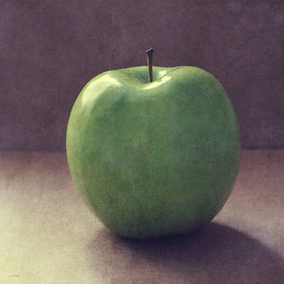 A Green Apple- Art By Linda Woods Art Print by Linda Woods