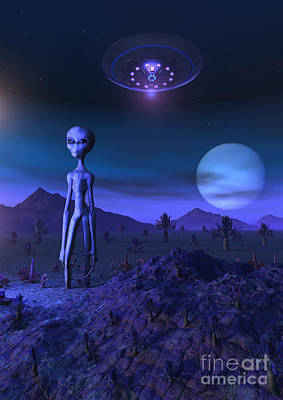 A Grey Alien Located On Its Homeworld Art Print by Mark Stevenson