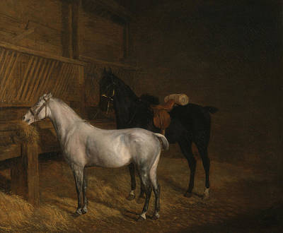Painting - A Grey Pony And A Black Charger In A Stable by Jacques-Laurent Agasse