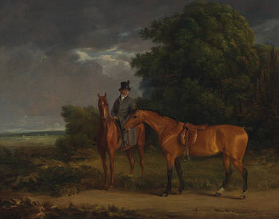 Painting - A Groom Mounted On A Chestnut Hunter, He Holds A Bay Hunter By The Reins by Treasury Classics Art