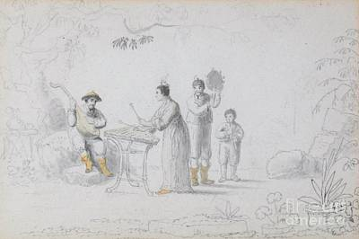 A Group Of Chinese Musicians Performing Beneath A Tree Art Print by MotionAge Designs