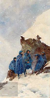 Behind The Rocks Painting - A Group Of First World War Chasseurs by MotionAge Designs