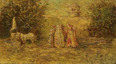 Group Of Women Talking Painting -  A Group Of Four Women And A Horse by MotionAge Designs