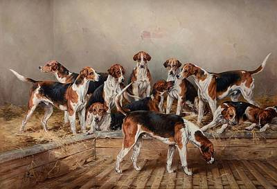 Percy Painting - A Group Of Percy Hounds by Henry Frederick