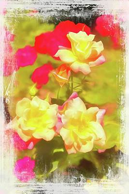 Digital Art - A Group Of Red And Yellow Roses by Rusty R Smith