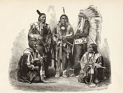 Native Drawing - A Group Of Sioux Indians by Vintage Design Pics