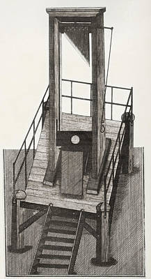 Decapitation Drawing - A Guillotine From The Time by Vintage Design Pics
