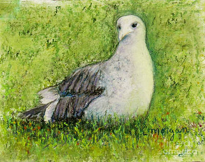 Painting - A Gull On The Grass by Laurie Morgan