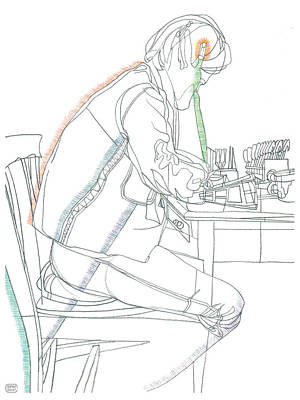 Drawing - A Guy In Denim Reading by Stan  Magnan
