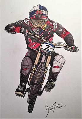 Mountain Biking Drawing - A Gwing by Ian Farrar