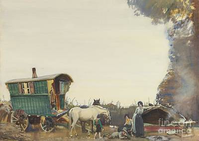 On Paper Painting - A Gypsy Encampment by Sir Alfred James Munnings