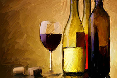 A Half Full Glass Of Wine Art Print by Stu Thompson