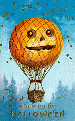 Balloons Drawing - A Halloween Pumpkin Hot Air Balloon by Ellen Hattie Clapsaddle