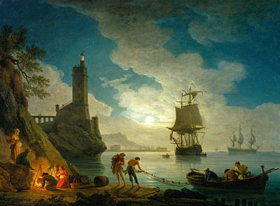 Moonlight Painting - A Harbor In Moonlight by Claude-Joseph Vernet