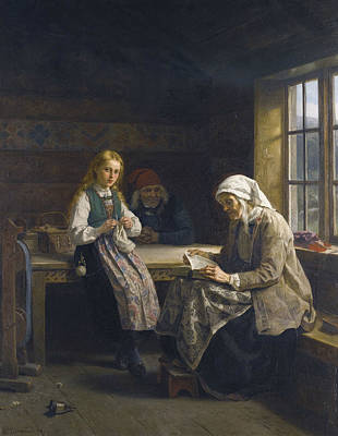Painting - A Hardanger Interior, Young Girl Knitting  by Adolph Tidemand