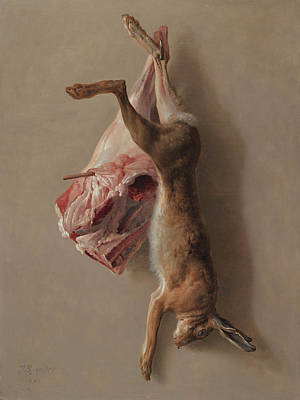 Carcass Painting - A Hare And A Leg Of Lamb by Jean-Baptiste Oudry