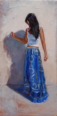 Fashion Painting - A Harmony Of Blues by Laura Lee Zanghetti