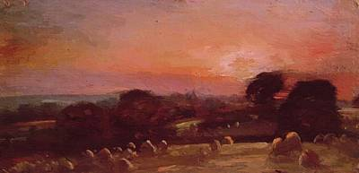 Painting - A Hayfield Near East Bergholt At Sunset 1812 by Constable John