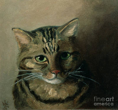 Tabby Painting - A Head Study Of A Tabby Cat by Louis Wain