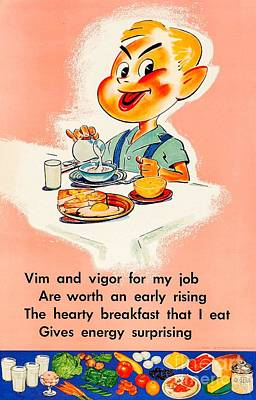 Kitchen Mark Rogan - A Hearty Breakfast 1957 National Dairy Council Juvenile Nutrition by Peter Ogden Gallery