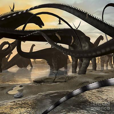 Animal Tracks Digital Art - A Herd Of Argentinosaurus Marching by Kurt Miller