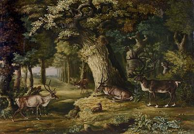 Melchior Painting - A Herd Of Stag And A Fawn In A Woodland Landscape by Johann Melchior
