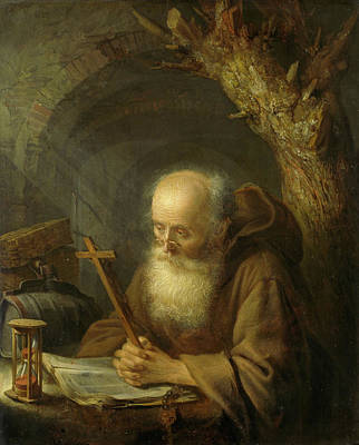 Dow Painting - A Hermit by Gerrit Dou