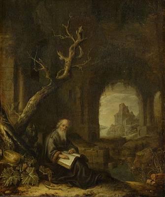 Ceramics Painting - A Hermit In A Ruin, Jan Adriaensz. Van Staveren, 1650 - 1668 by Celestial Images