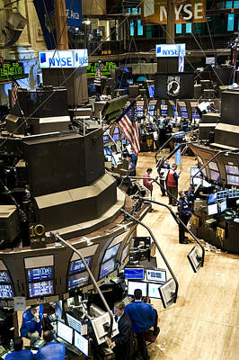 Anticipation Photograph - A High Angle View Of The New York Stock by Justin Guariglia
