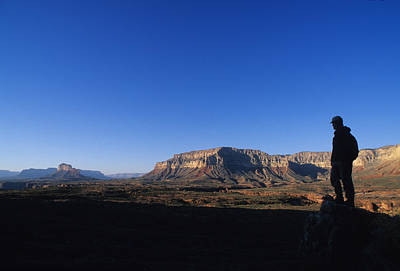 A Hiker Overlooks Tuckup Canyon Art Print