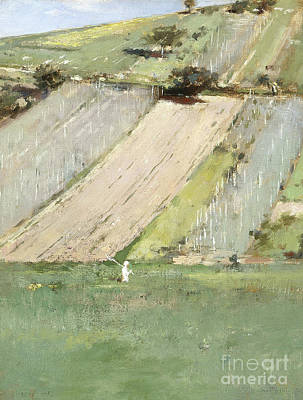 Net Painting - A Hillside, Giverny, 1887  by Theodore Robinson