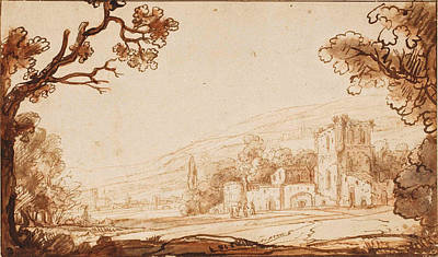 Drawing - A Hilly Landscape With Figures Approaching A Castle by Attributed to Abraham Furnerius