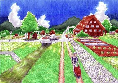 Drawing - A Japanese Village by Hisashi Saruta