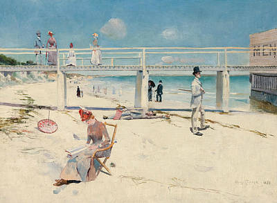 Australian Landscape Painting - A Holiday At Mentone  by Charles Conder