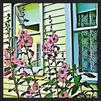 Art Print featuring the digital art A Holly Hocks Morning by Mindy Newman