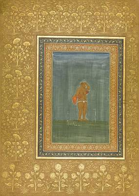 Staff Painting - a Holy Man Standing and Scratching his Head by Celestial Images