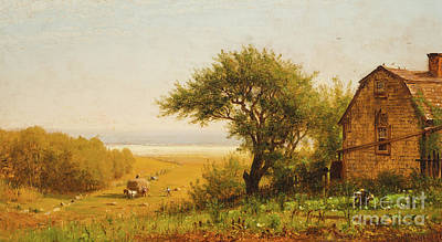 New England Barn Painting -  A Home By The Seaside by Thomas Worthington Whittredge