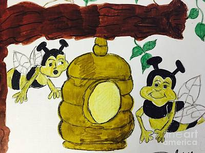 Drawing - A Honey And The Bees by Charita Padilla