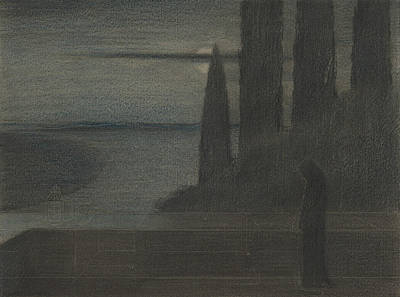 Hood Drawing - A Hooded Figure In A Landscape by Herbert Crowley